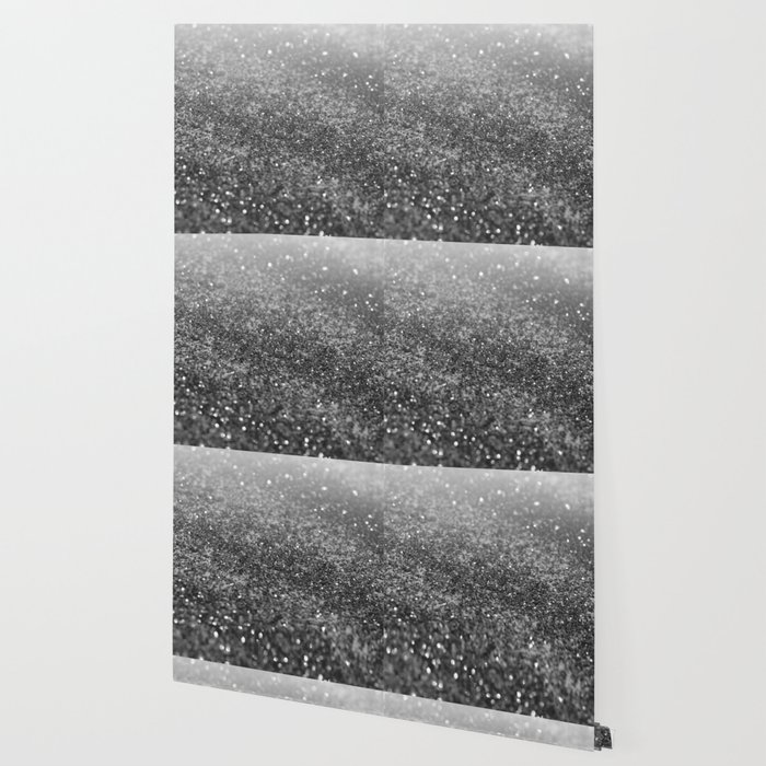 Silver Gray Black Glitter 2 Faux Glitter Photography Shiny Decor Art Society6 Wallpaper