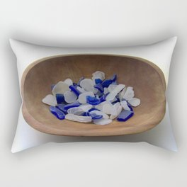 Cobalt and White Sea Glass Rectangular Pillow