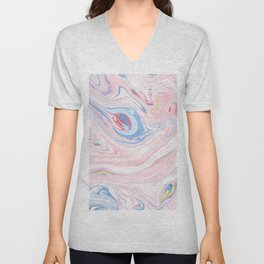 Elegant pastel pink white blue abstract watercolor marble Unisex V-Neck