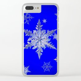 """MORE SNOW"" BLUE WINTER ART DESIGN Clear iPhone Case"
