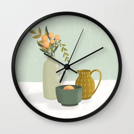 Serene Still Life in greens, peaches and mustards Wall Clock
