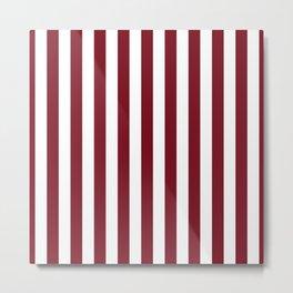 Deep Dark Red Pear and White Beach Hut Stripe Metal Print