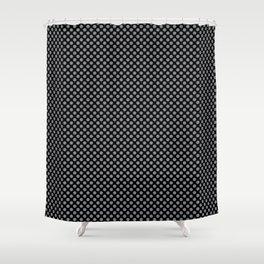 Black and Sharkskin Polka Dots Shower Curtain