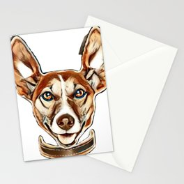 silly crazy dog with paws up        - Image Stationery Cards