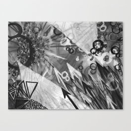 Abstract charcoal painting - Black and White Canvas Print