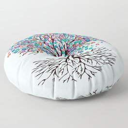 Tree of life rainbow flowers Floor Pillow