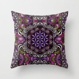 Flower of Life - purple Throw Pillow