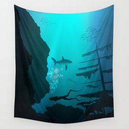 Beautiful coral reef and silhouettes of diver and school of fish in a blue sea Wall Tapestry