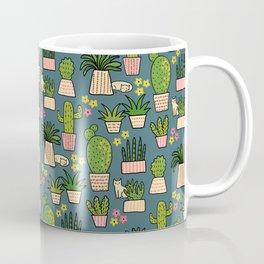 Cactus Cat Blue Coffee Mug