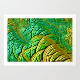 patterns green yellow string Art Print
