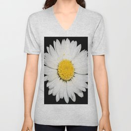 Top View of a White Daisy Isolated on Black Unisex V-Neck