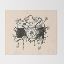 Vintage Camera Blooms Throw Blanket