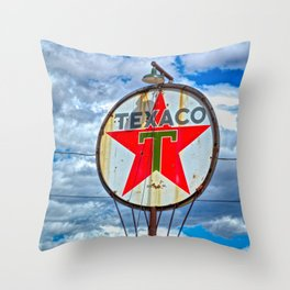 Old Gas Station Sign Throw Pillow