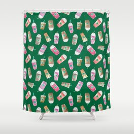 Coffee Crazy Toss in Green Shower Curtain