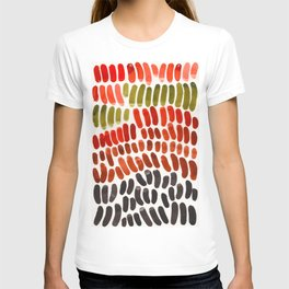Autumn Colors Red Ochre Olive Green Watercolor Palette Natural Geometric Shapes T-shirt