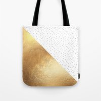 gold dots Tote Bags featuring Gold and Polka Dots by Jenna Davis Designs