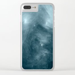 Galaxy : Pleiades Star Cluster NeBula Steel Blue Clear iPhone Case