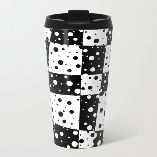 Holes In Black And White Metal Travel Mug