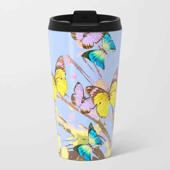 Playing butterflies on a summer day - lovely blue sky background - cheerful and happy Metal Travel Mug
