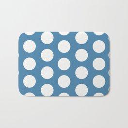 Large Polka Dots on Blue Bath Mat
