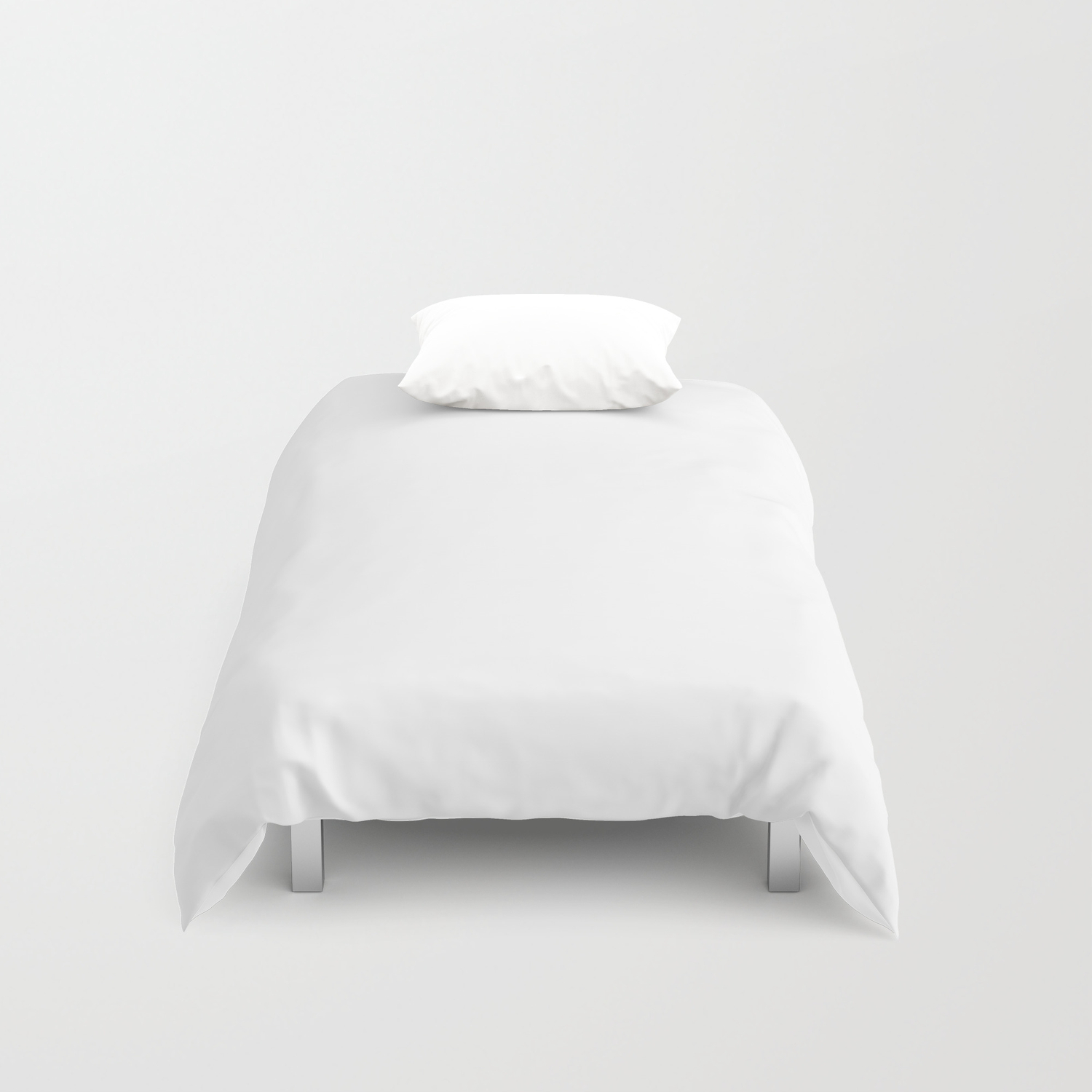 Plain White Simple Solid Color All Over Print Duvet Cover By
