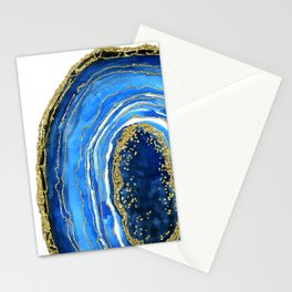 Cobalt blue and gold geode in watercolor (2) Stationery Cards