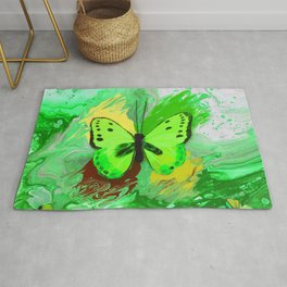 Neon Green Butterfly Rug
