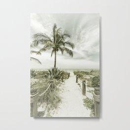 Path to the beach | Vintage Metal Print