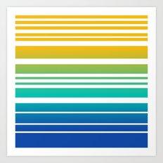Bay Ombre Stripe: Sunrise Art Print