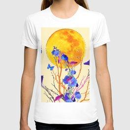 BLUE BUTTERFLIES MORNING GLORY  FULL MOON ART T-shirt
