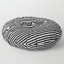 Traditional Ethnic Tribal Geometric Navajo Native American Motif Pattern Black and White Floor Pillow