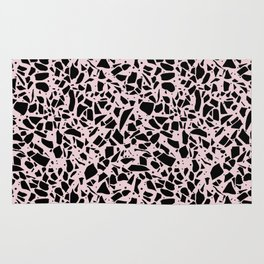 Terrazzo Spots Black on Blush Repeat Rug