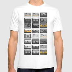 Retro Tapes Mens Fitted Tee White MEDIUM