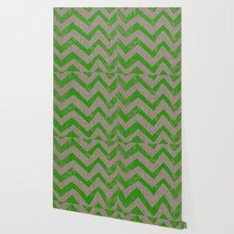 lime chevron on linen Wallpaper
