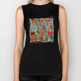 Color Riot Abstract Art Collage Biker Tank