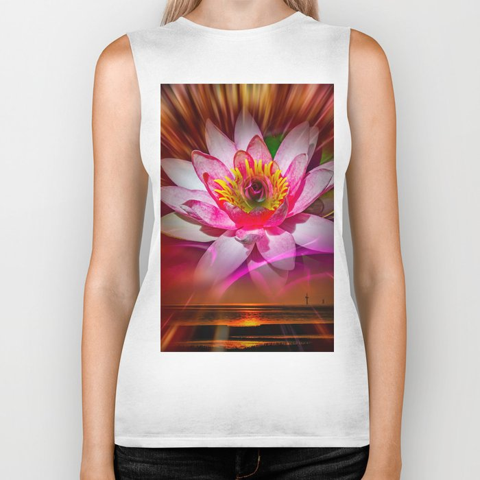 Wellness Water Lily Rose  6 Biker Tank
