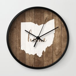 Ohio is Home - White on Wood Wall Clock