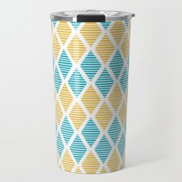 Geometric pattern with striped rhombus in blue and yellow palette Travel Mug