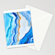 Blue and gold agate Stationery Cards