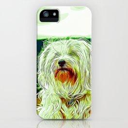 hairy havanese dog vector art iPhone Case