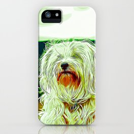 hairy havanese dog vector art iPhone Case