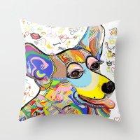 corgi Throw Pillows featuring Corgi by EloiseArt