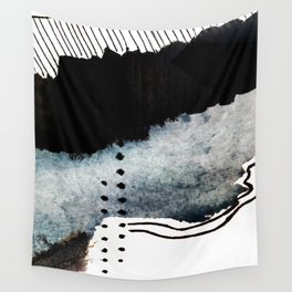 Closer - a black, blue, and white abstract piece Wall Tapestry