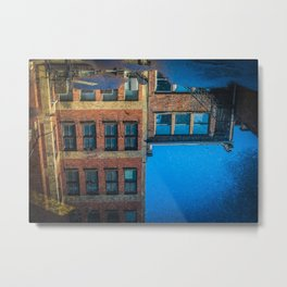reflections in a puddle in columbus Metal Print