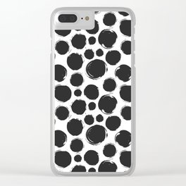 Dry brush black ink dots Clear iPhone Case
