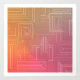 Art Deco sunset Art Print