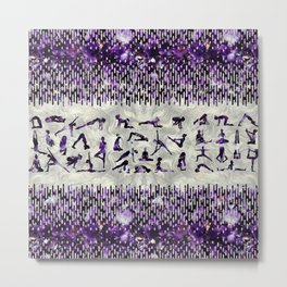 Amethyst Yoga Asanas  on mother of pearl Metal Print