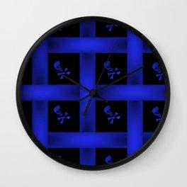 Blue Skulle Pattern Wall Clock