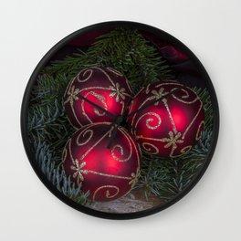 Red Christmas Balls Wall Clock