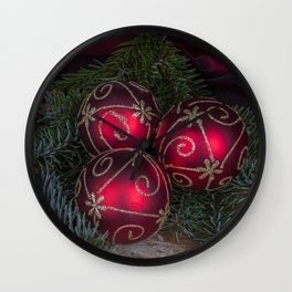 Red Christmas Balls Wall Clock